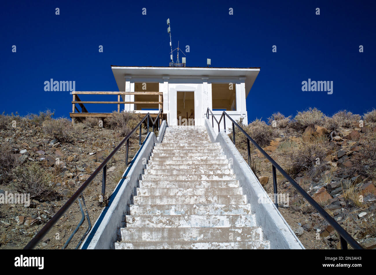 Stairs lead to observation hut on Tenderfoot Mountain above Salida and the Arkansas River Valley, Chaffee County, Colorado, USA - Stock Image