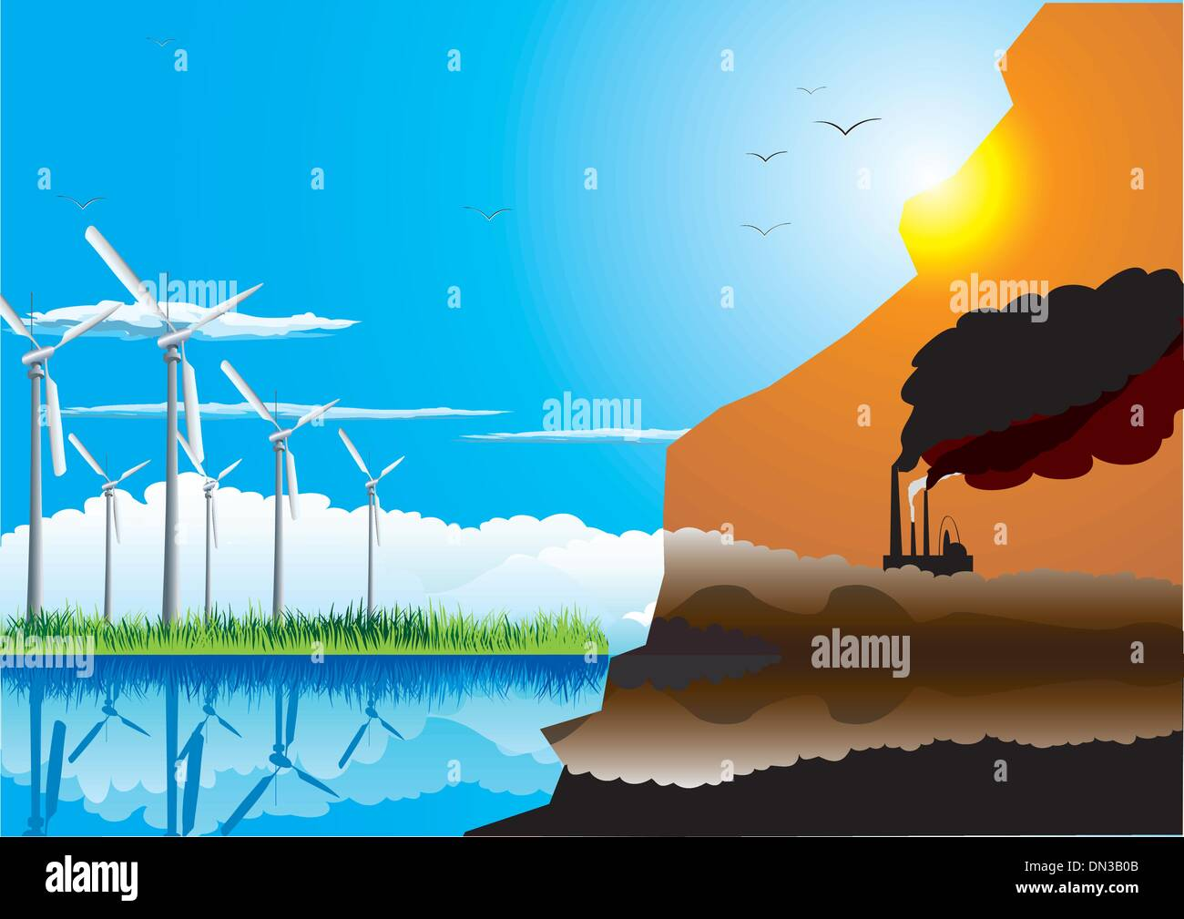 Green energy farm and polluting factory. Ecology concept. - Stock Image