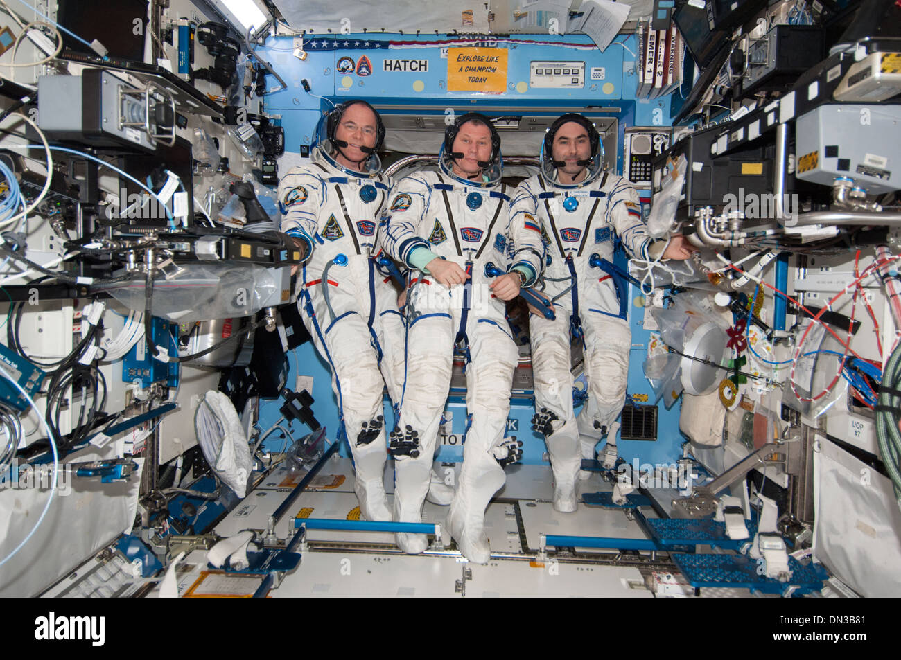 Expedition 34 Crew Members onboard International Space Station Sokol suits U.S. Laboratory Destiny NASA astronaut cosmonaut - Stock Image