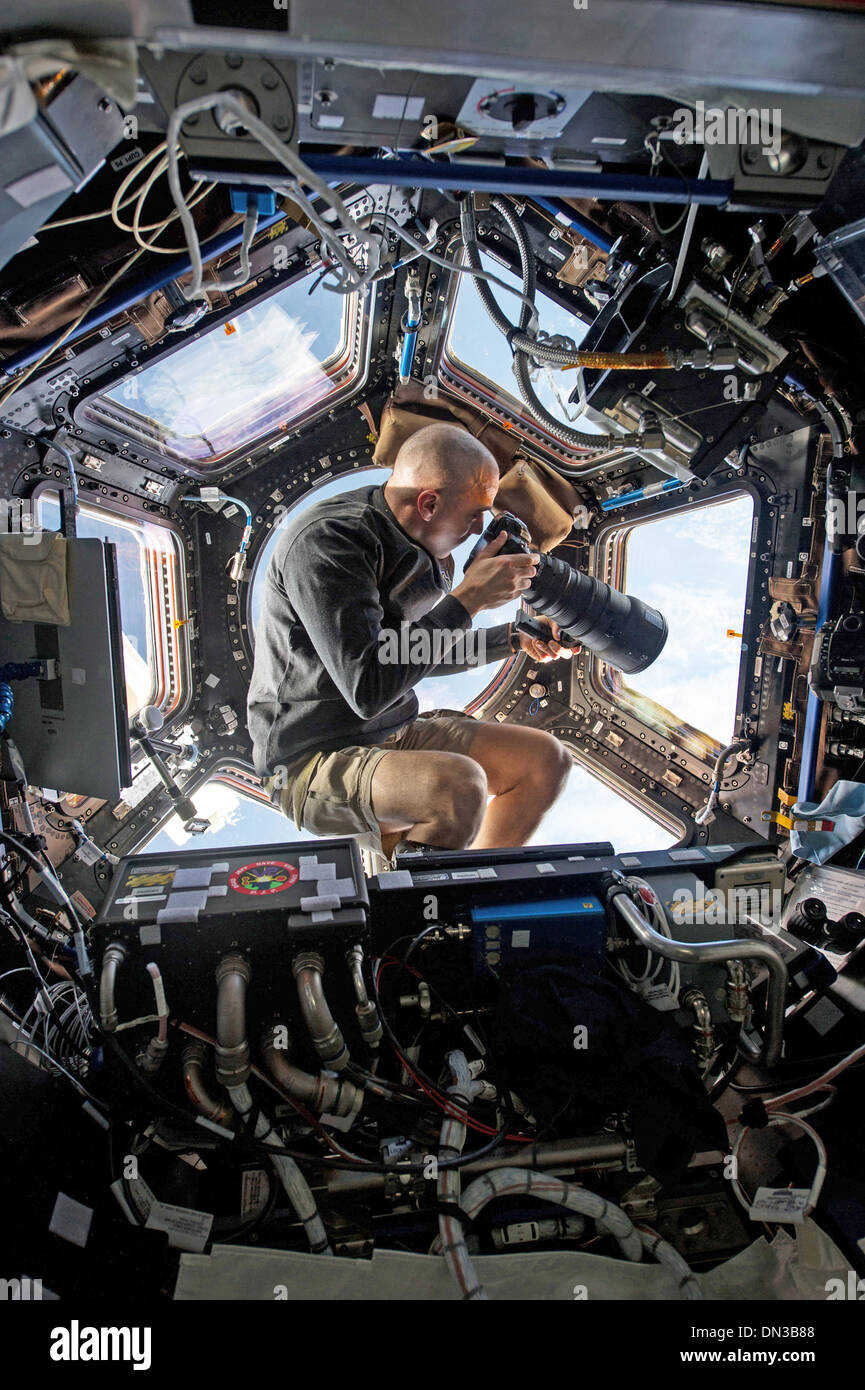 International Space Station Cupola NASA flight engineer astronaut Expedition 36 - Stock Image