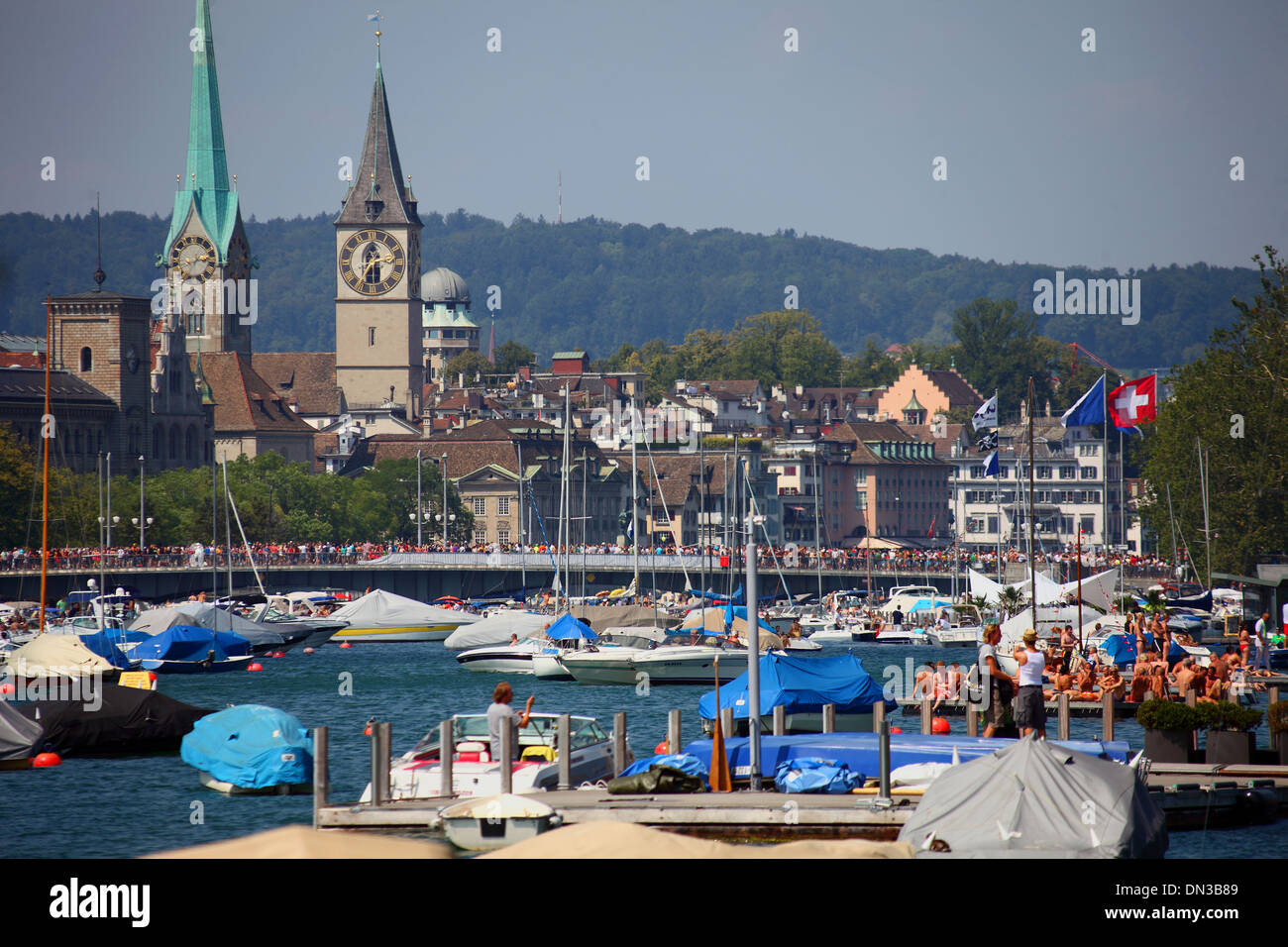 Switzerland, Zurich, city and lake. - Stock Image