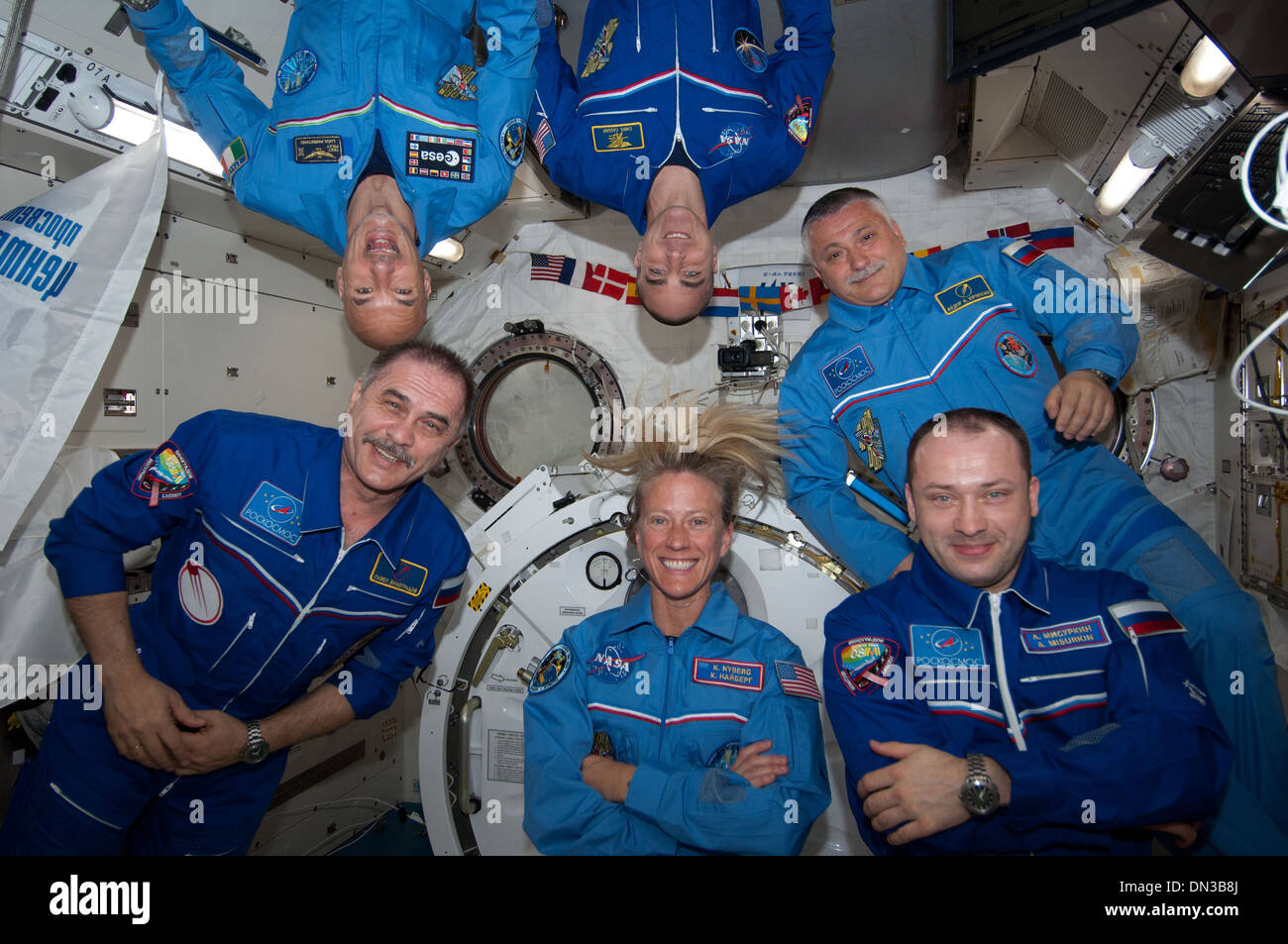 Space International Space Station Expedition 36 Crew Return to Earth - Stock Image
