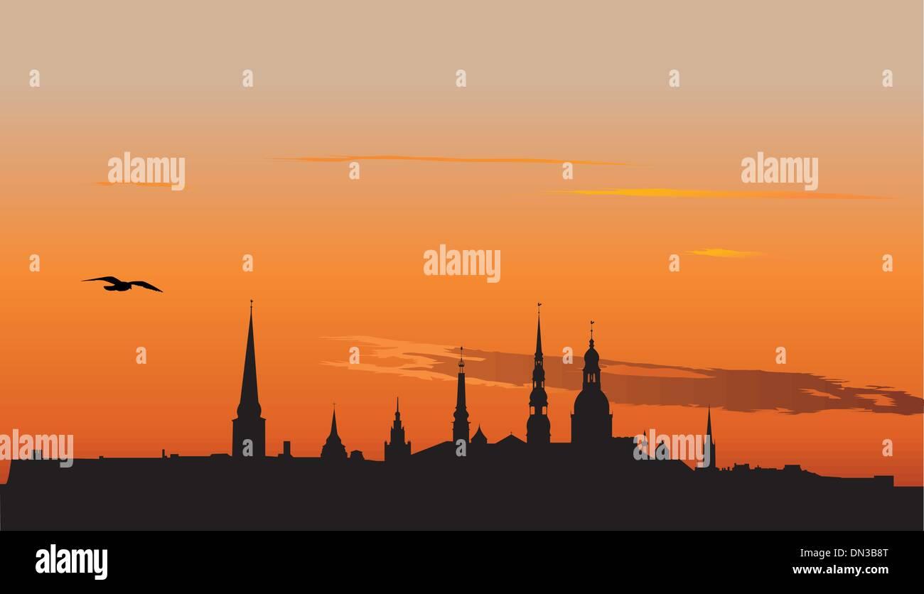 Riga panorama at sunrise - Stock Vector