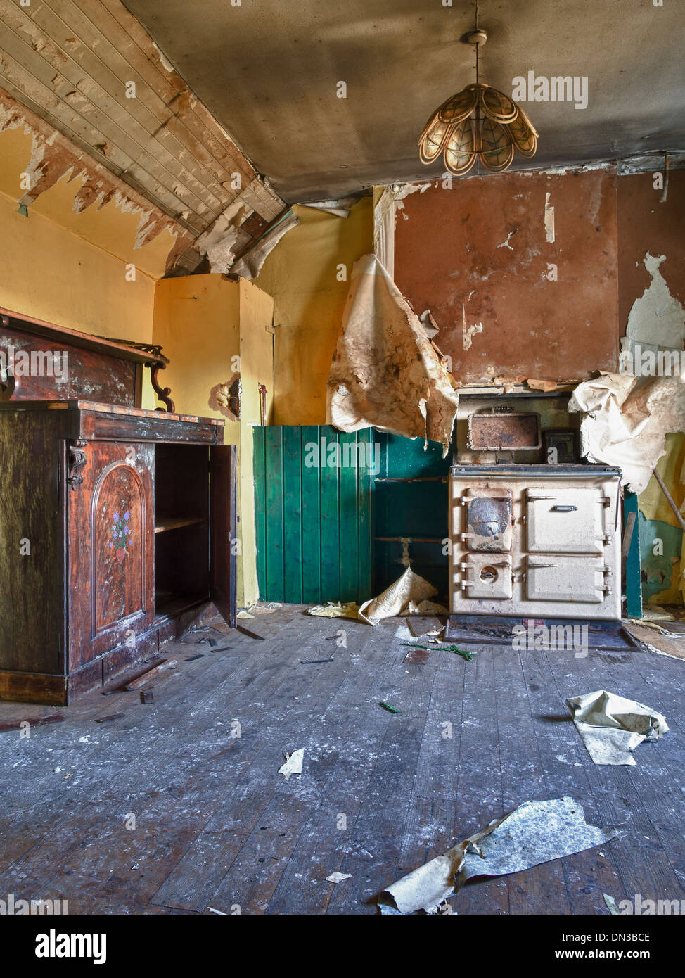 Interior of Abandoned Croft House, North Uist - Stock Image