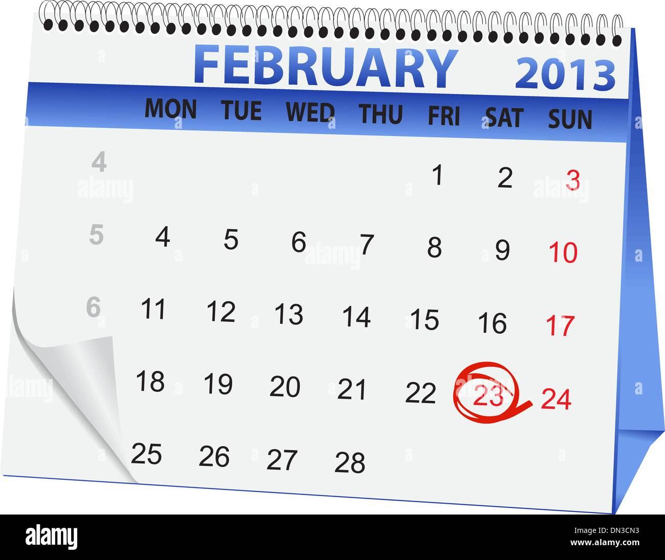 holiday calendar for 23 February Stock Vector