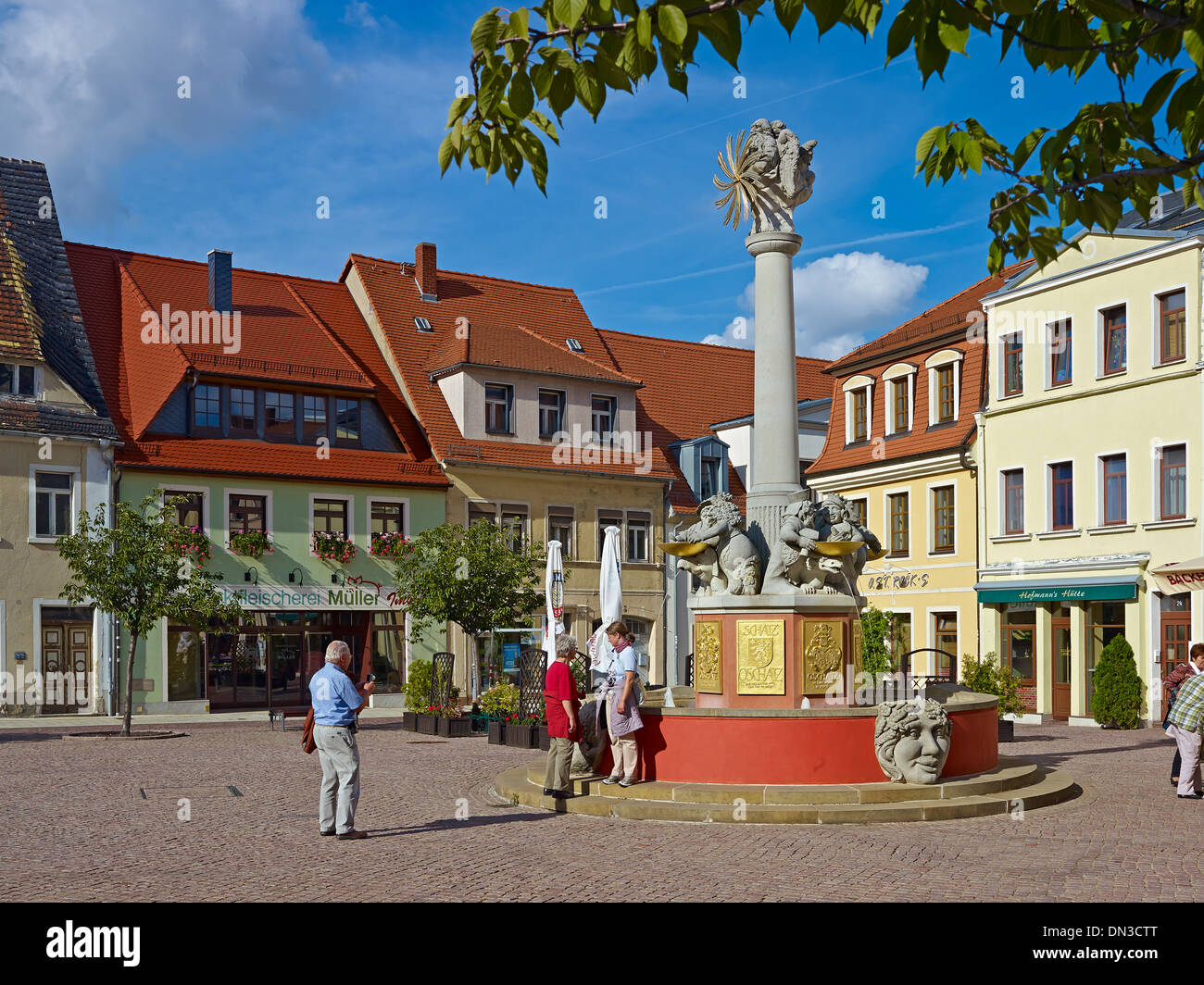 Altmarkt Square with a new fountain in Oschatz, Nordsachsen District, Saxony, Germany Stock Photo