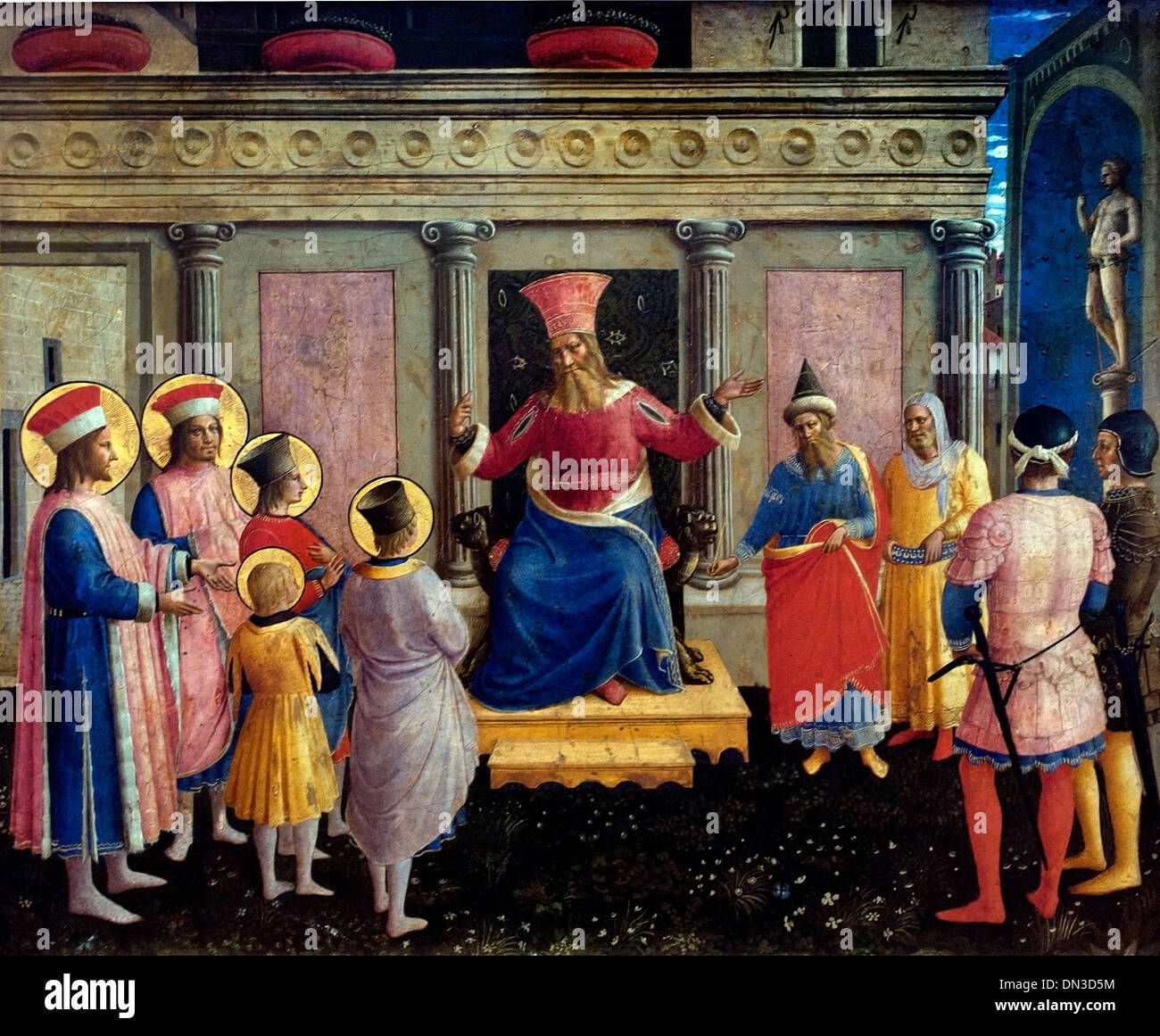 Saint Cosmas and Saint Damian before Lisius  by  Cosmas Fra Angelico 1387 -1455 Italy Italian - Stock Image