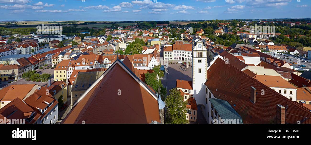 View over Oschatz, Nordsachsen District, Saxony, Germany Stock Photo