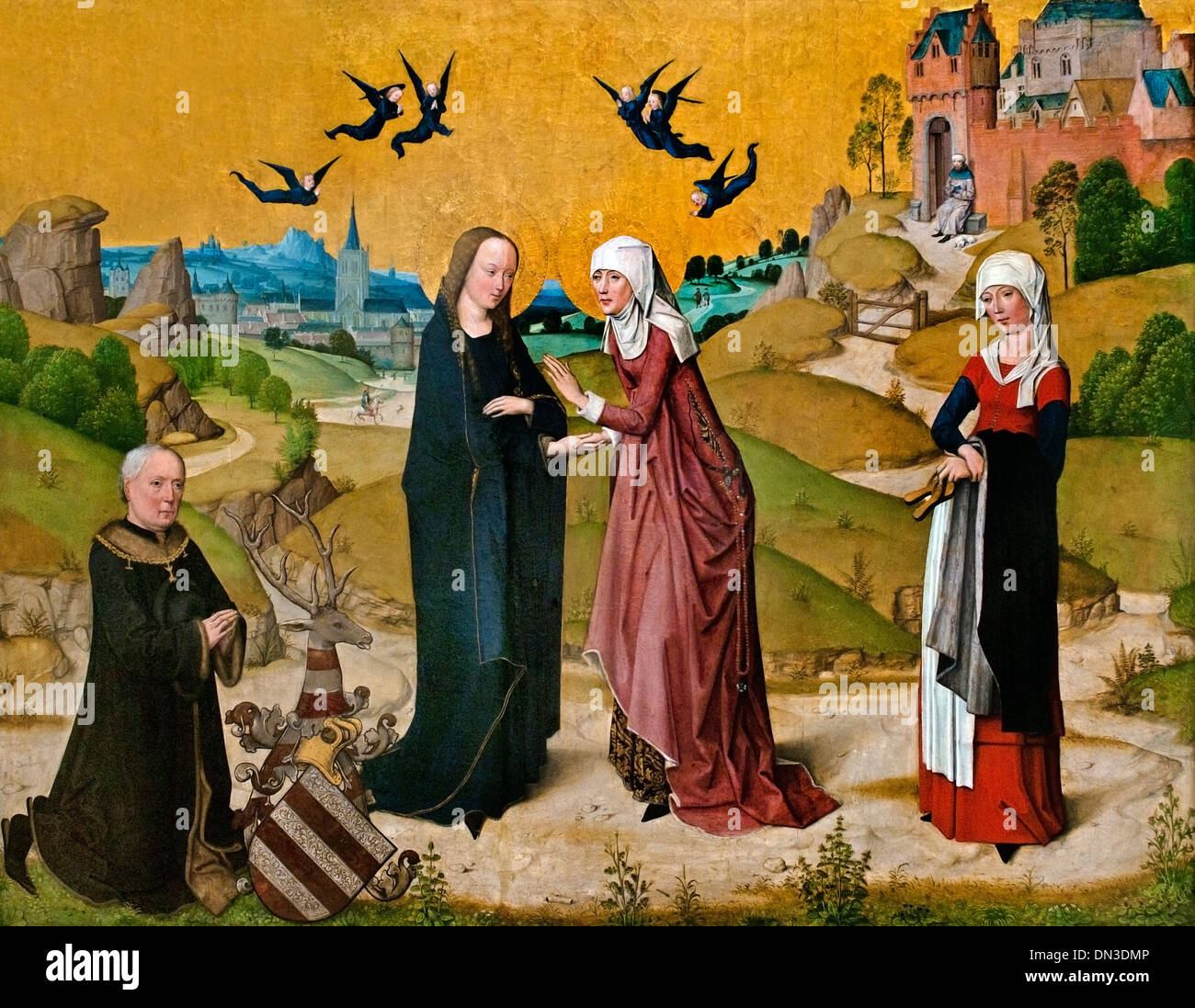 Heimsuchung Mariae  - visitation Mary Master of the Life of the Virgin 1460-90 German Koln Cologne Germany - Stock Image