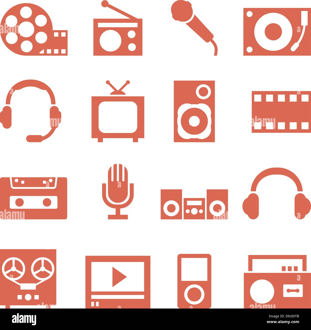 Icon set of gadgets and devices in a retro style. - Stock Image