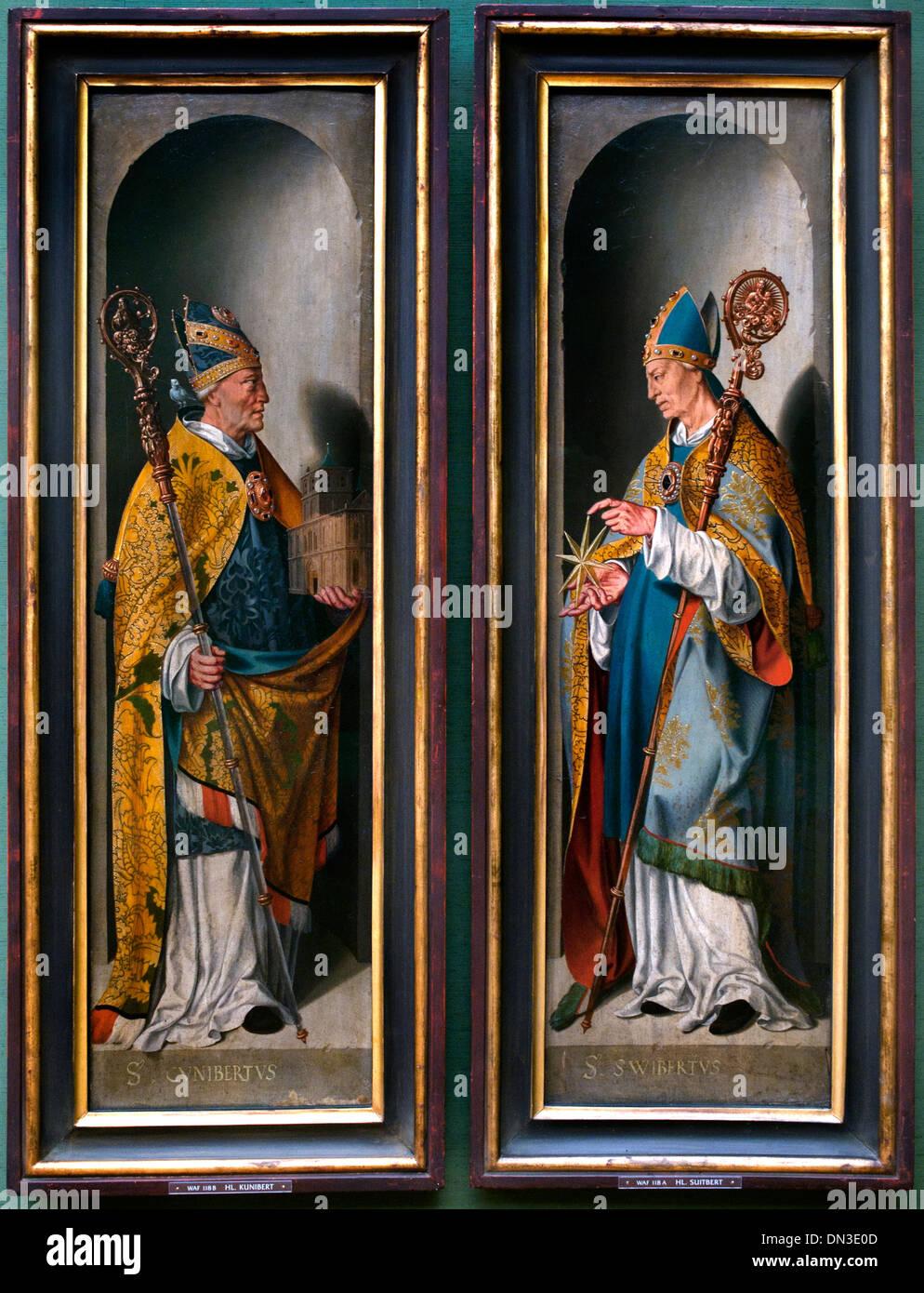 Holy Suitbert left -  Holy Kunibert right  Altar wings 15 century German Germany - Stock Image