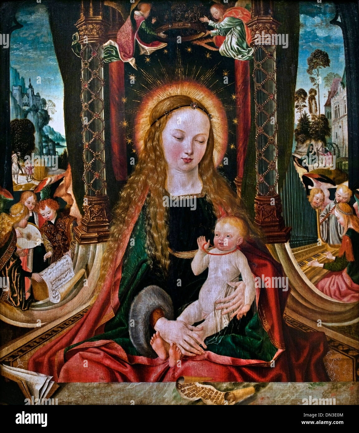 Master of the Aachen Altar, Madonna and Child with angels playing instruments. 1480 - 1520  German Germany - Stock Image