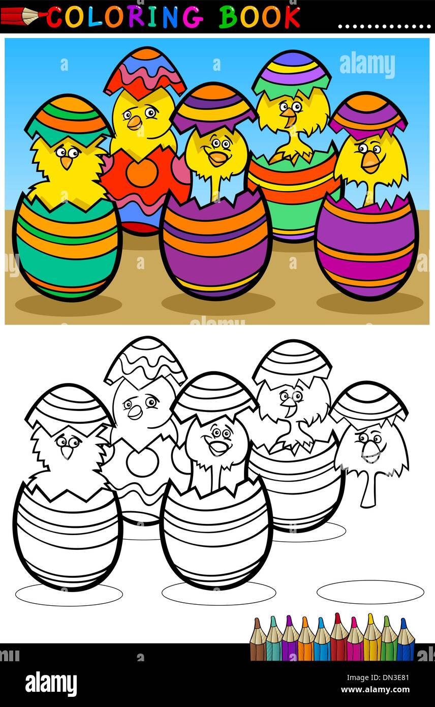 cartoon chicks in easter eggs coloring page Stock Vector Art ...