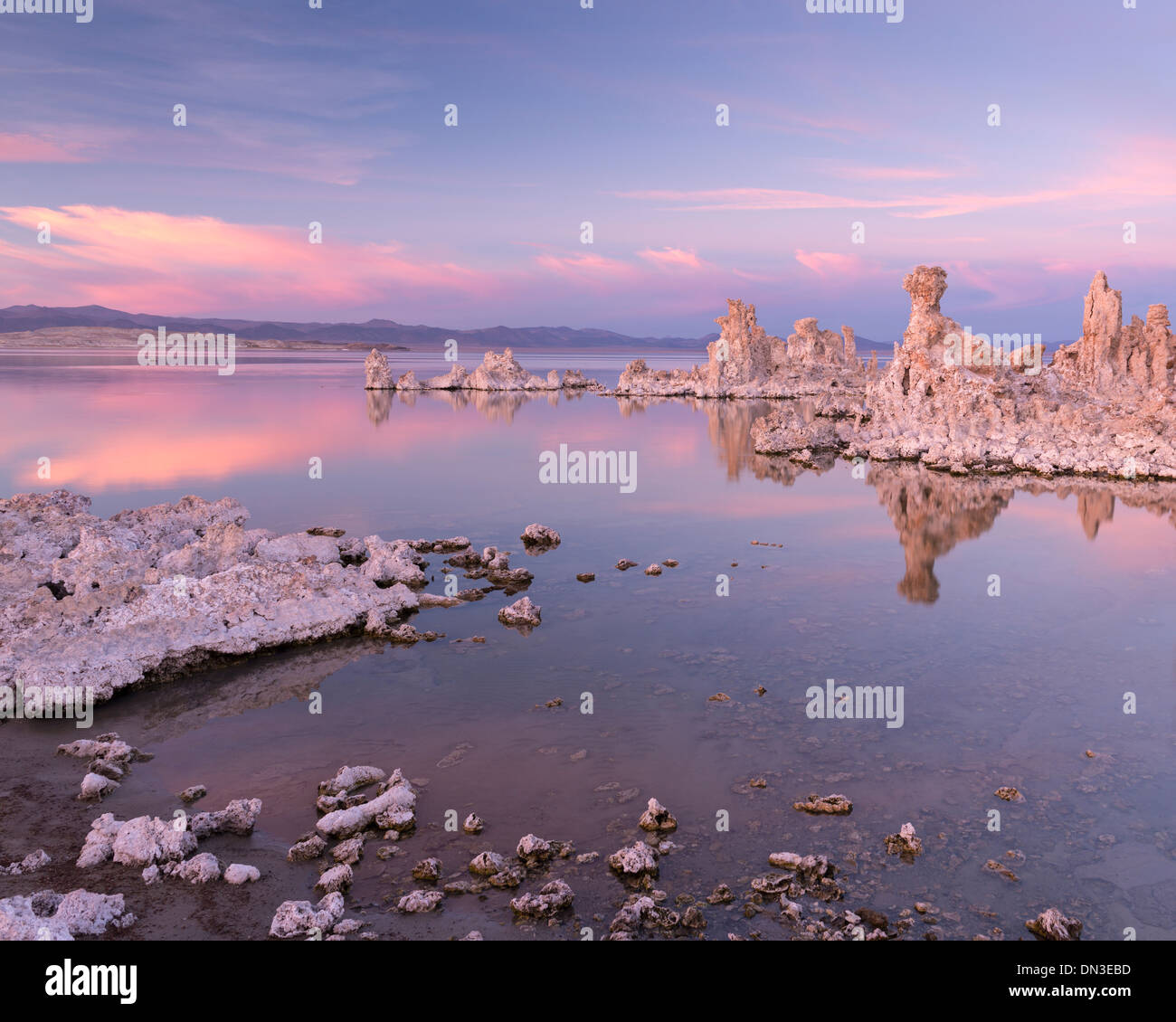 Sunset over a tranquil Mono Lake, California, USA. Autumn (October) 2013. - Stock Image