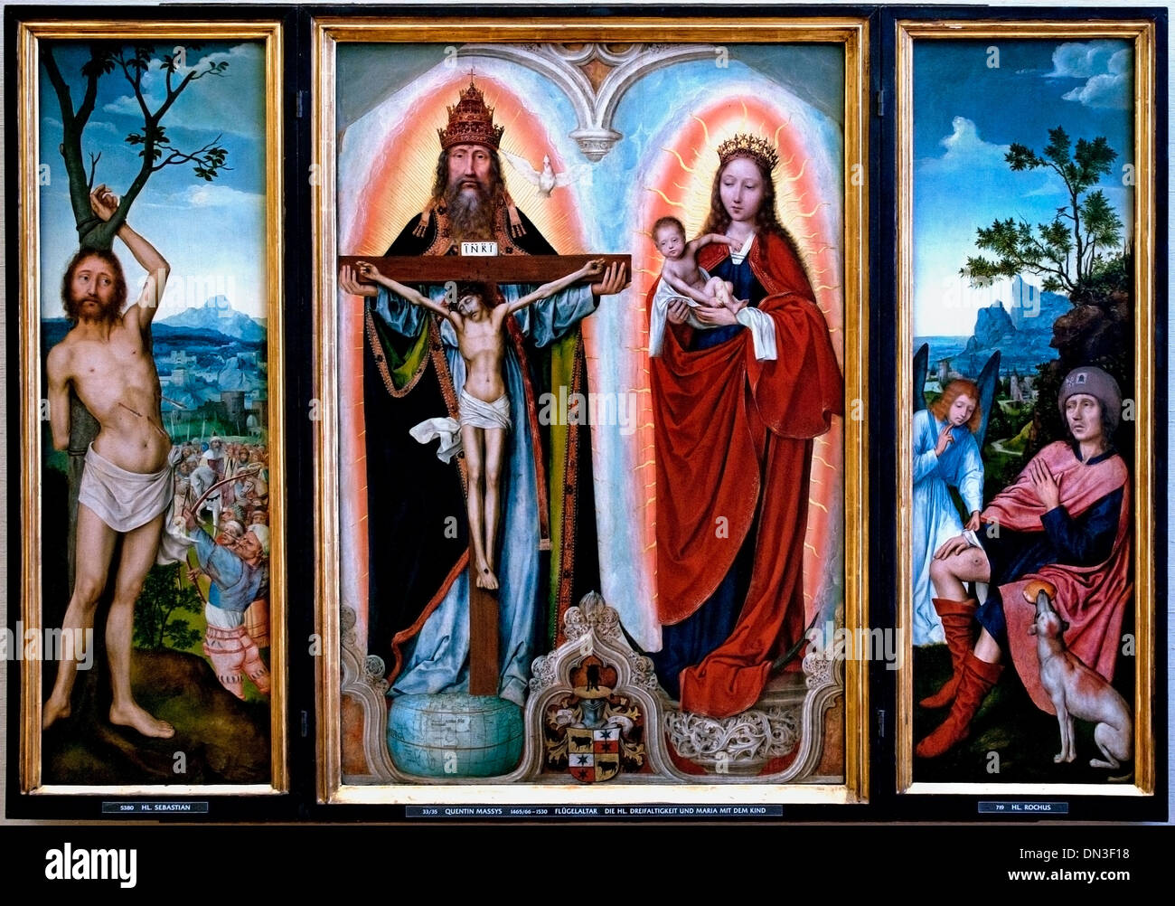 Triptych The Holy Trinity and Mary with Child by Quinten Massys (1466 - 1530) Flemish Belgian Belgium - Stock Image