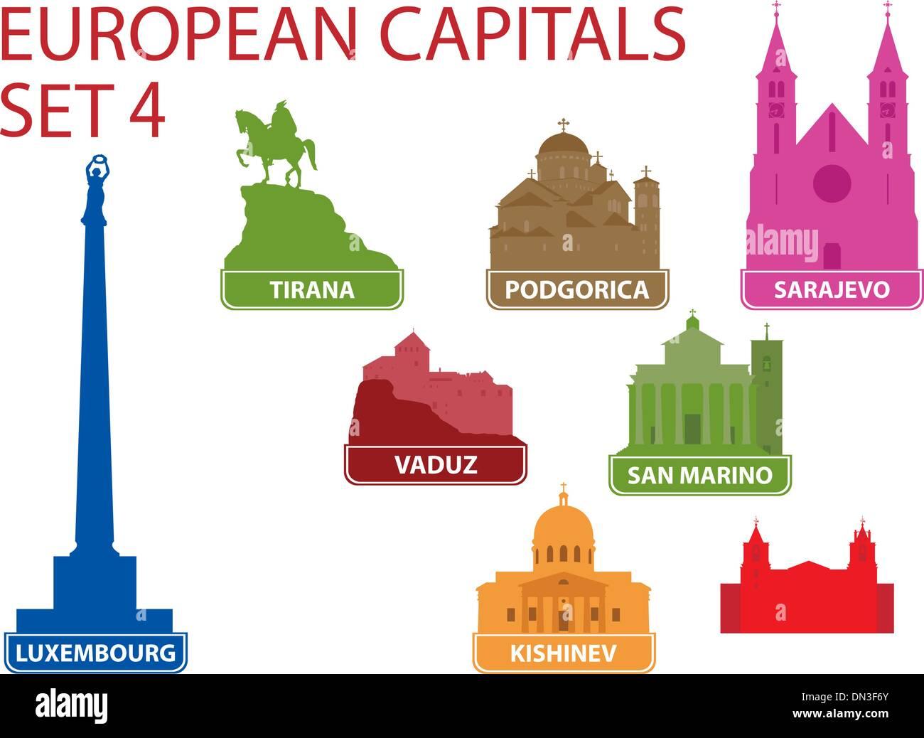 European capitals - Stock Vector