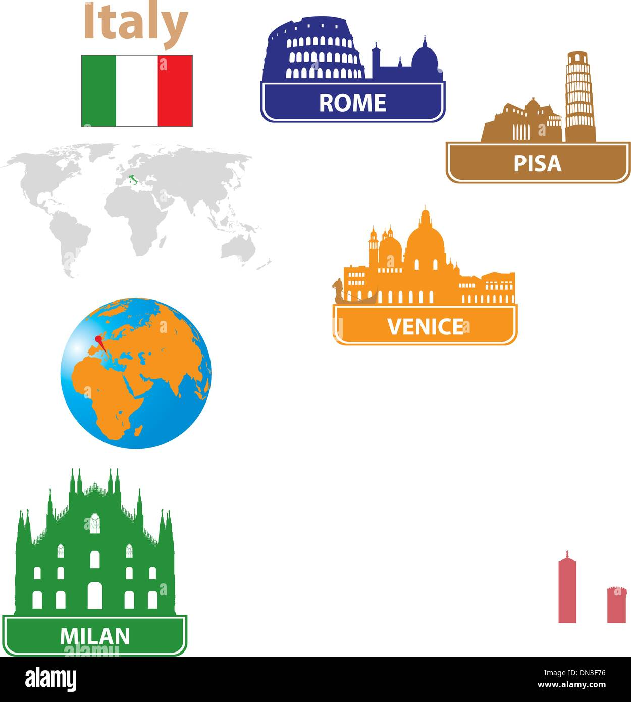 Italy. Silhouettes city - Stock Vector