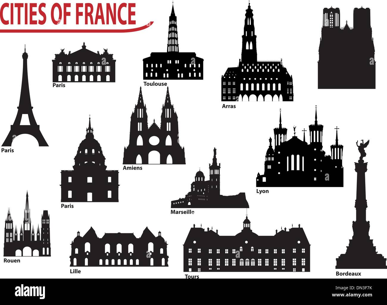Silhouettes of cities in France - Stock Vector