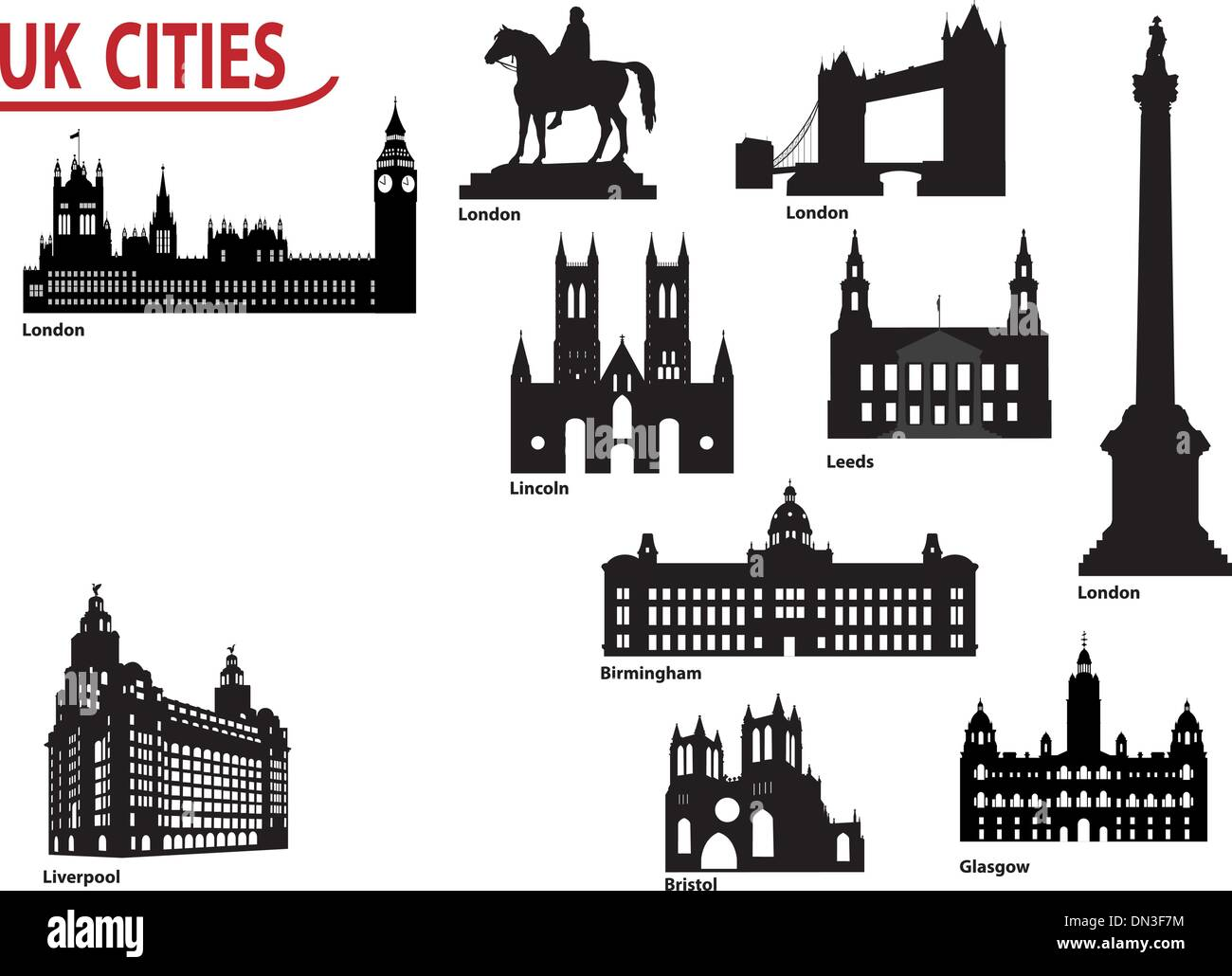Silhouettes of cities in the UK - Stock Vector