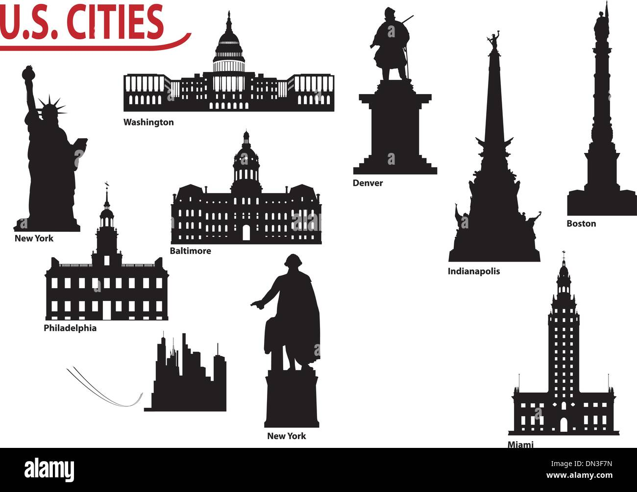Silhouettes of U.S. cities - Stock Vector
