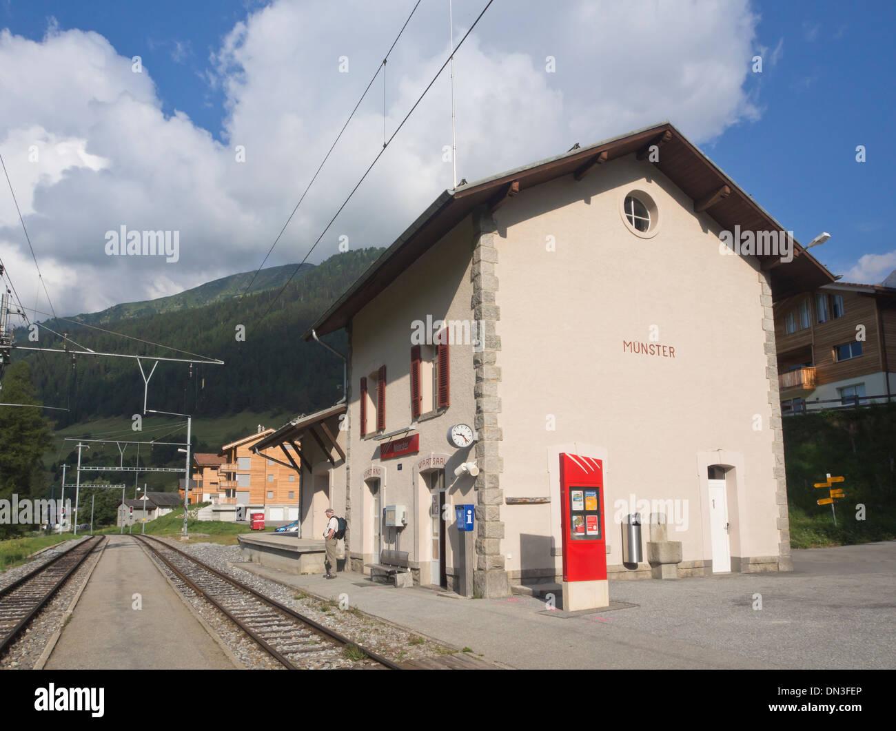 Railway station on the Matterhorn Gothard bahn, Glacier express, in the village Munster in Switzerland - Stock Image