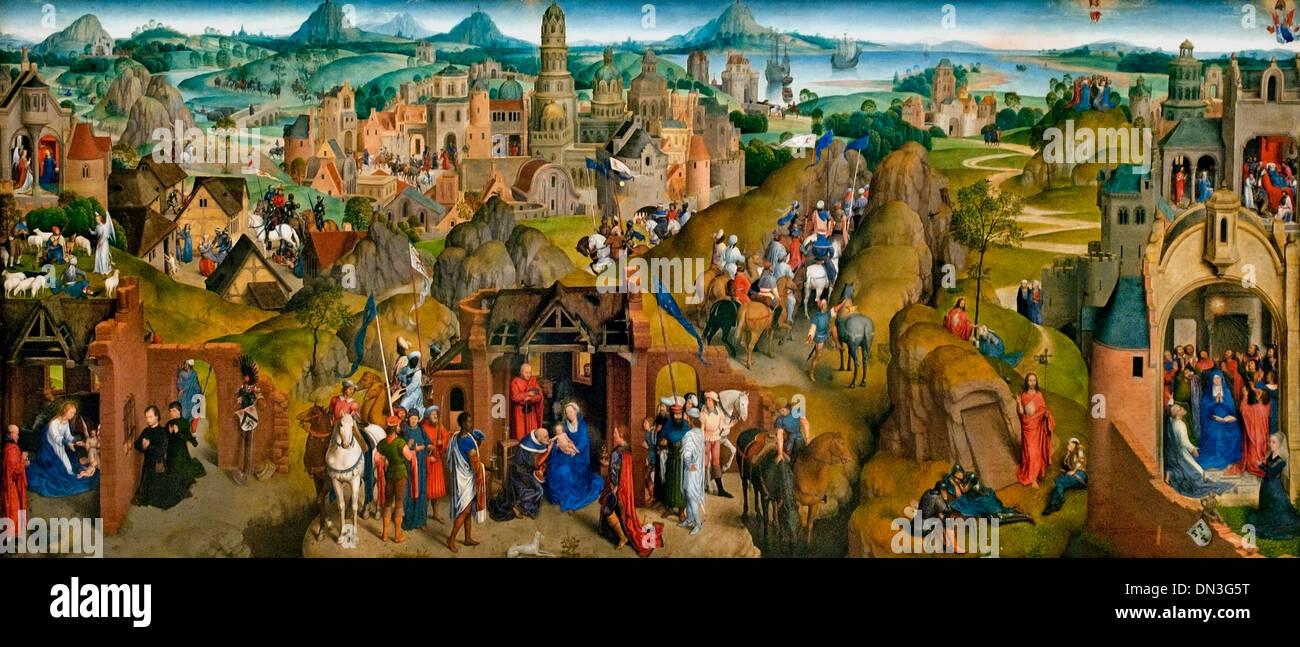 Die sieben freuden Mariens - The seven joys of Mary by  Hans Memling ( Memlinc ) 1430 – 1494 German Germany - Stock Image