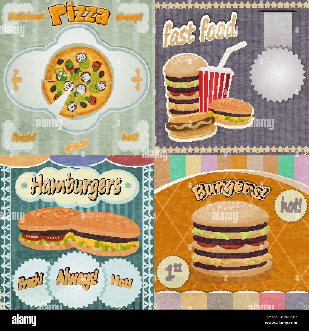 Set of vintage cards - fast food ads - with the image food