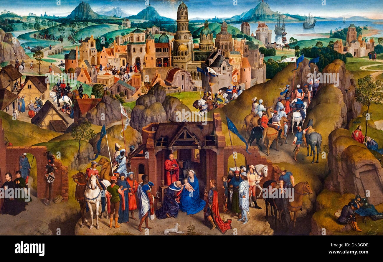Die sieben freuden Mariens - The seven joys of Mary Hans Memling ( Memlinc ) 1430 – 1494 German Germany - Stock Image