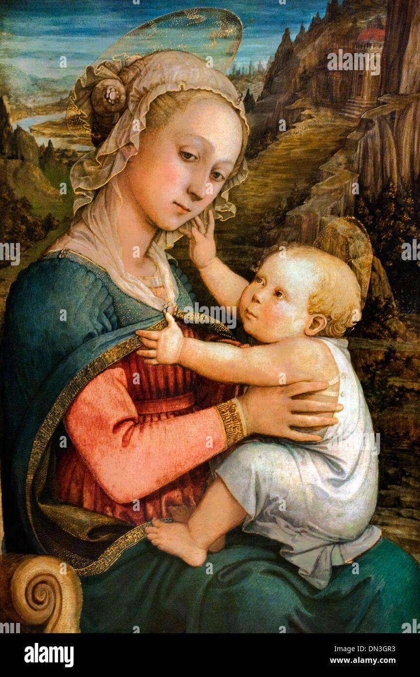 Mary with Child by Fra Filippo Lippi 1406 – 1469 also called Lippo  Italy Italian - Stock Image