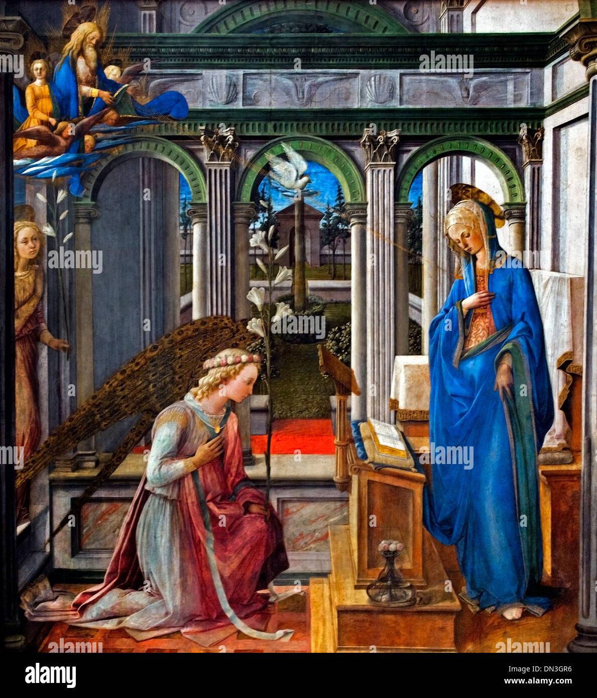 THE ANNUNCIATION 1450 FRA FILIPPO LIPPI (1406-1469)  Italy Italian - Stock Image