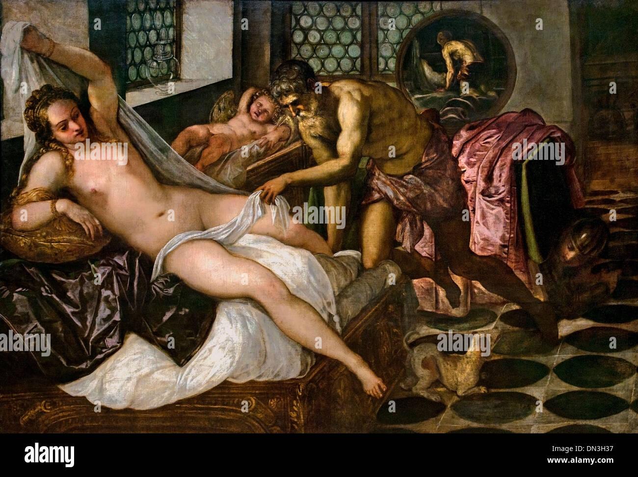 MARS AND VENUS SURPRISED BY VULCAN 1555 TiTintoretto ( Jacopo Comin  ) 1518 - 1594)  Italian painter  Renaissance Stock Photo