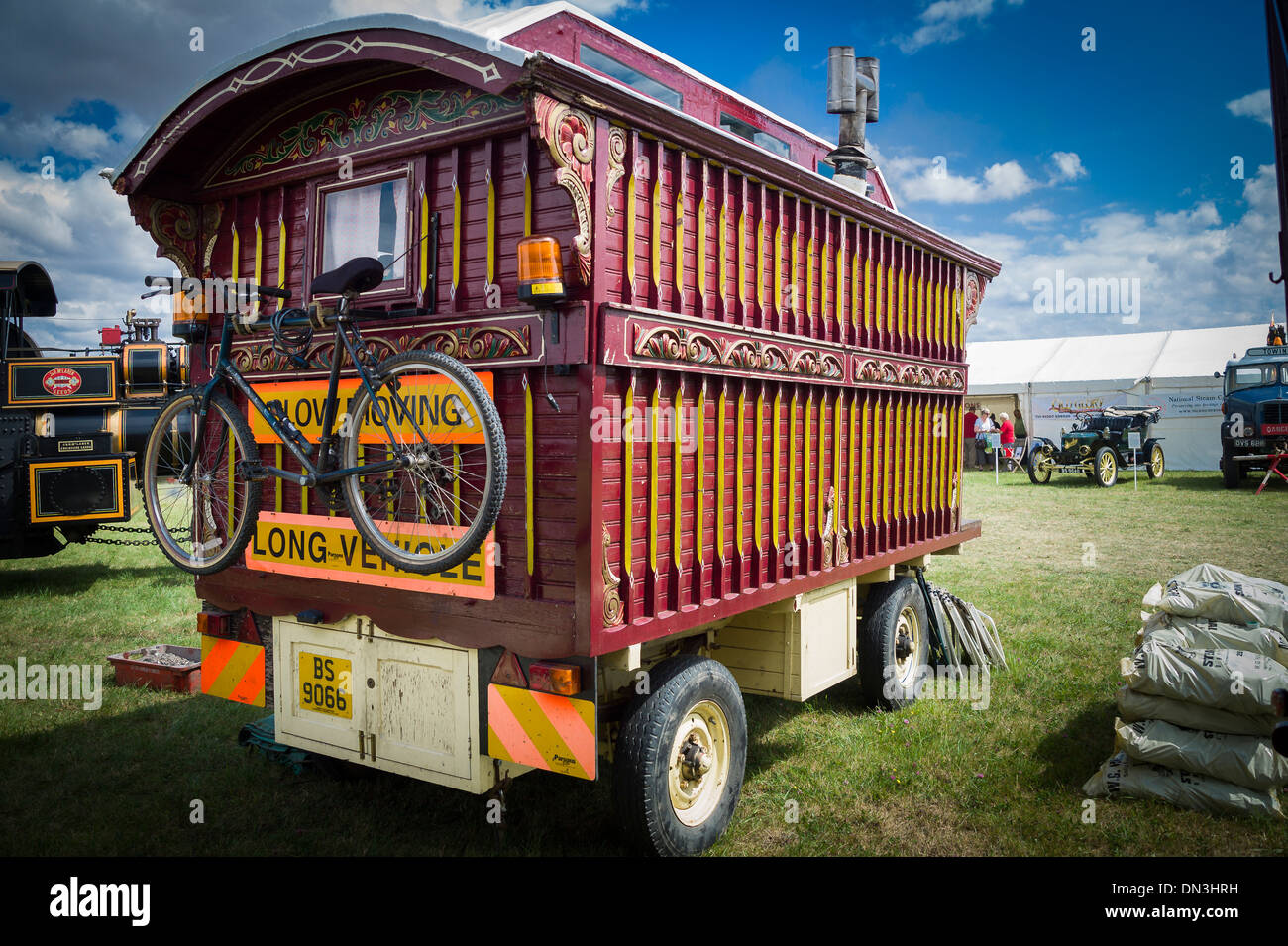 Old Showman's caravan at a nostalgic steam event in UK - Stock Image