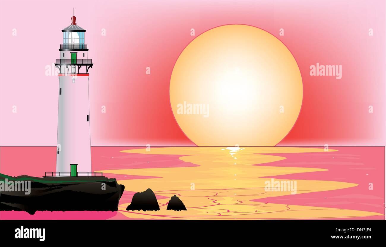 Lighthouse Sunset - Stock Vector