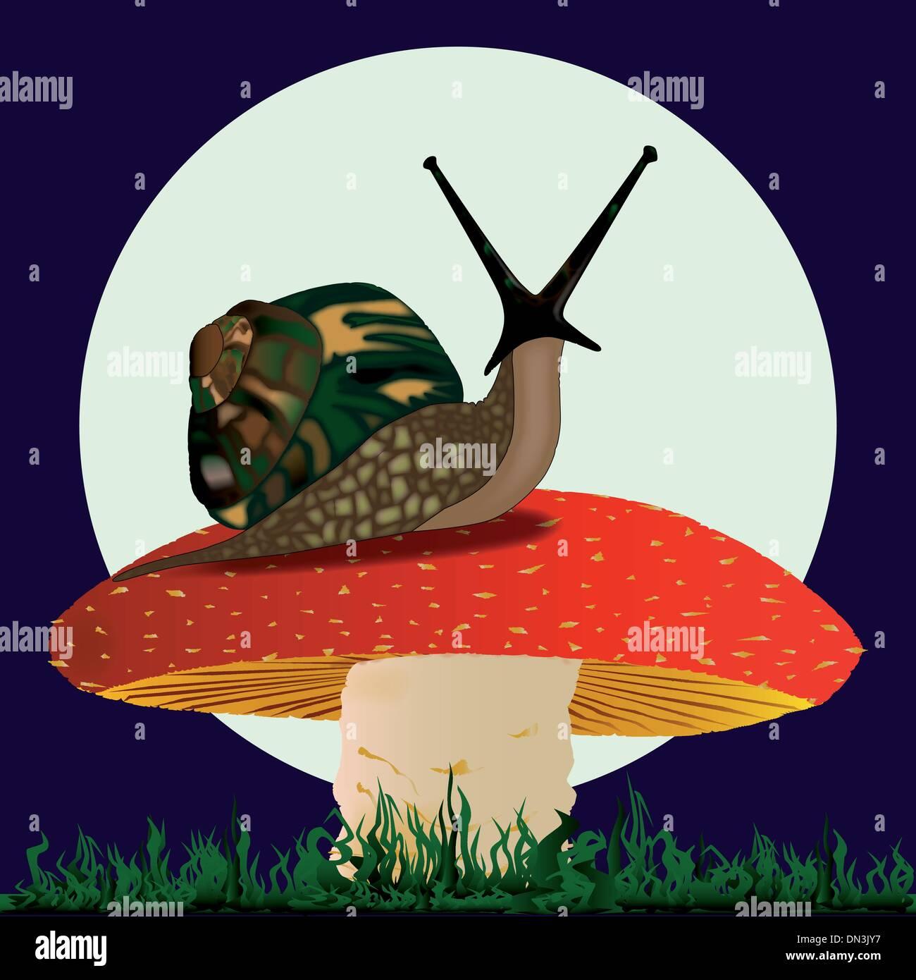 Snail resting on a Mushroom - Stock Vector