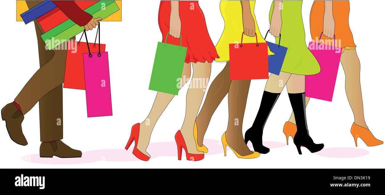 Shopping Legs - Stock Vector