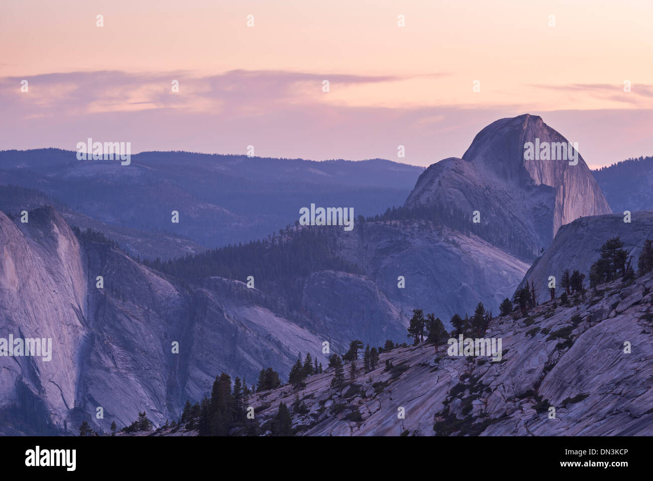 Twilight over Half Dome, Yosemite National Park, California, USA. Autumn (October) 2013. - Stock Image
