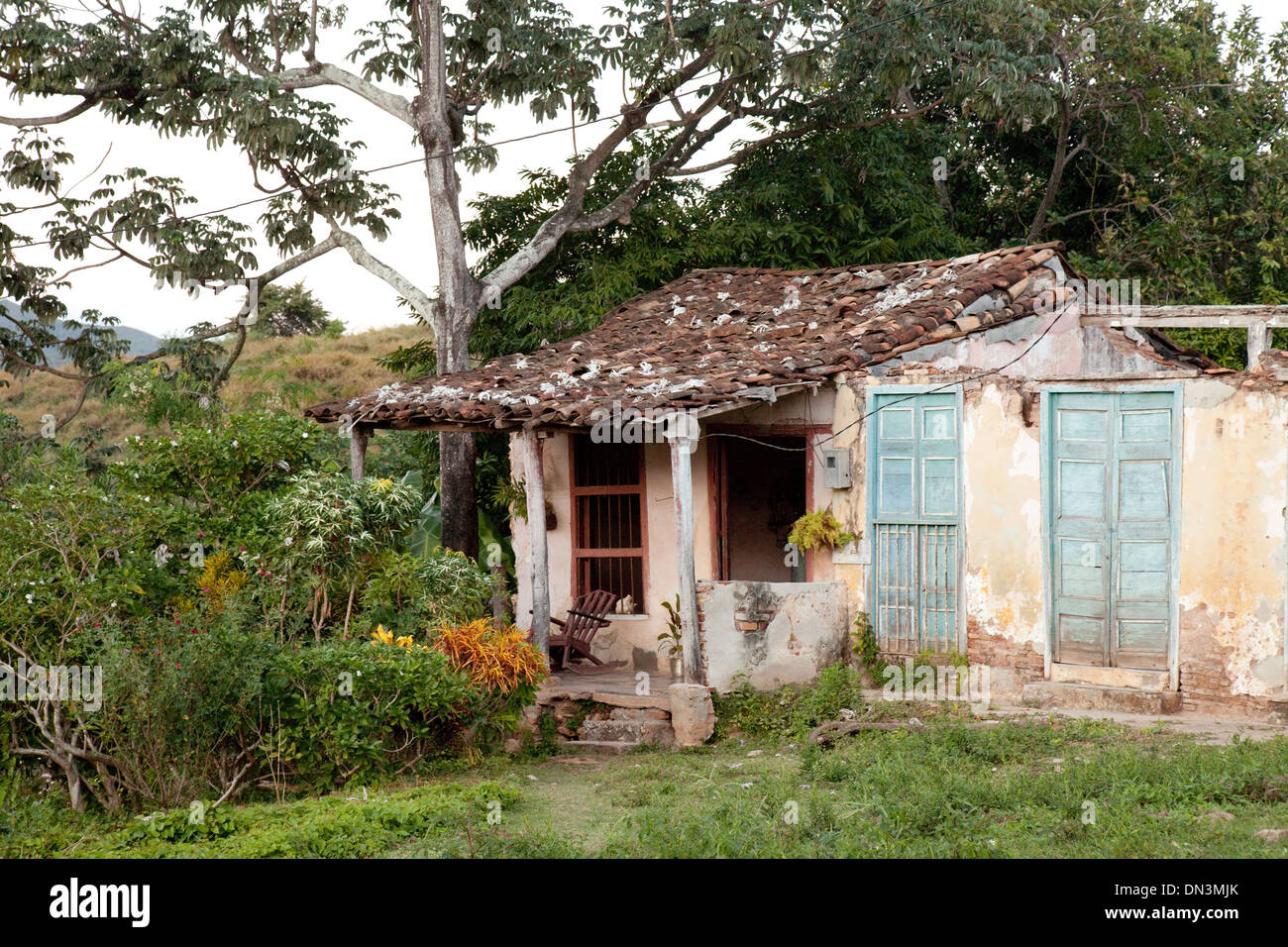 A house in Trinidad, Cuba, Caribbean, Latin America, reflecting the local poverty - Stock Image