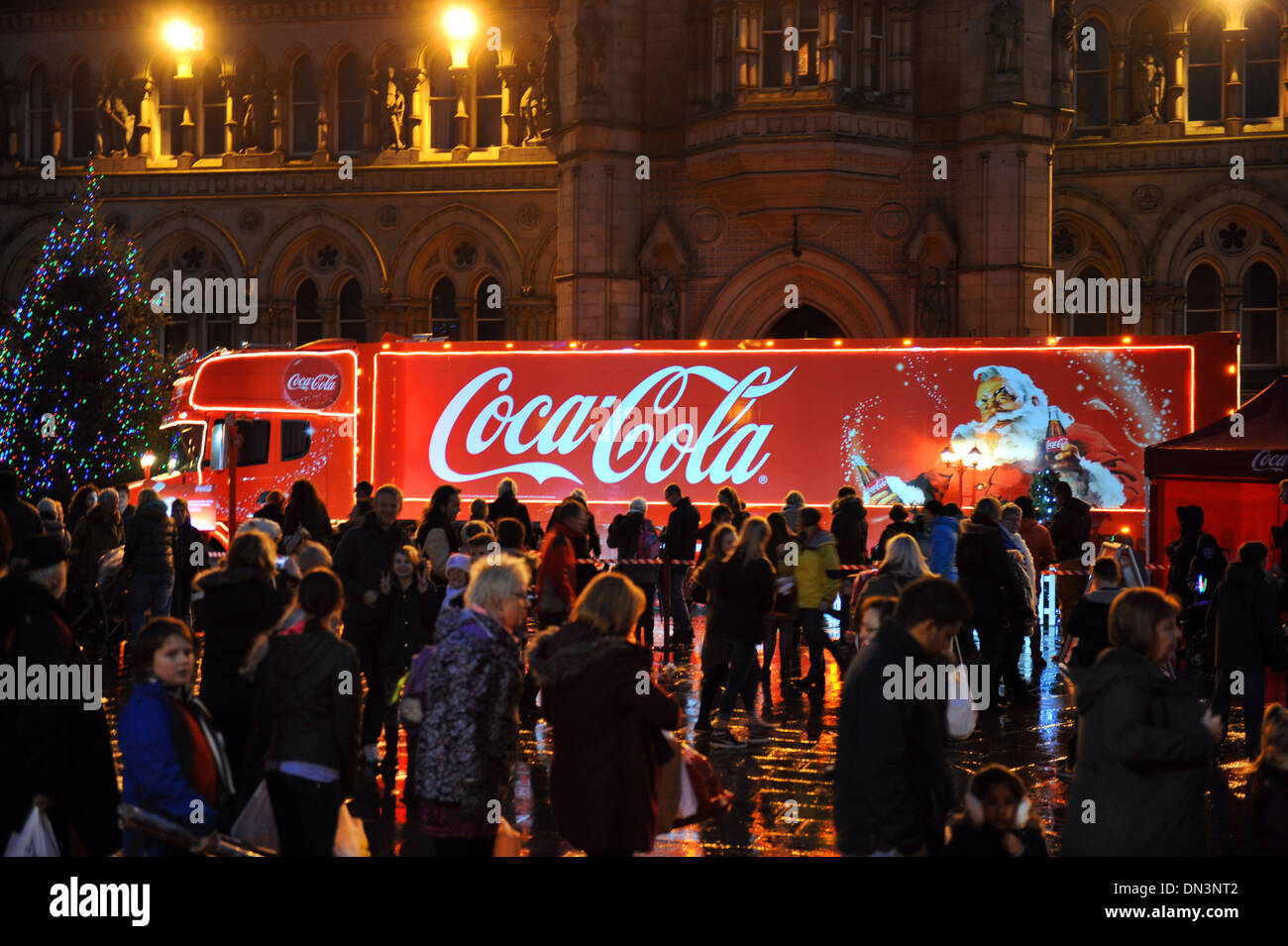 The Coca Cola truck on tour around Britain, in Bradford West Yorkshire - Stock Image