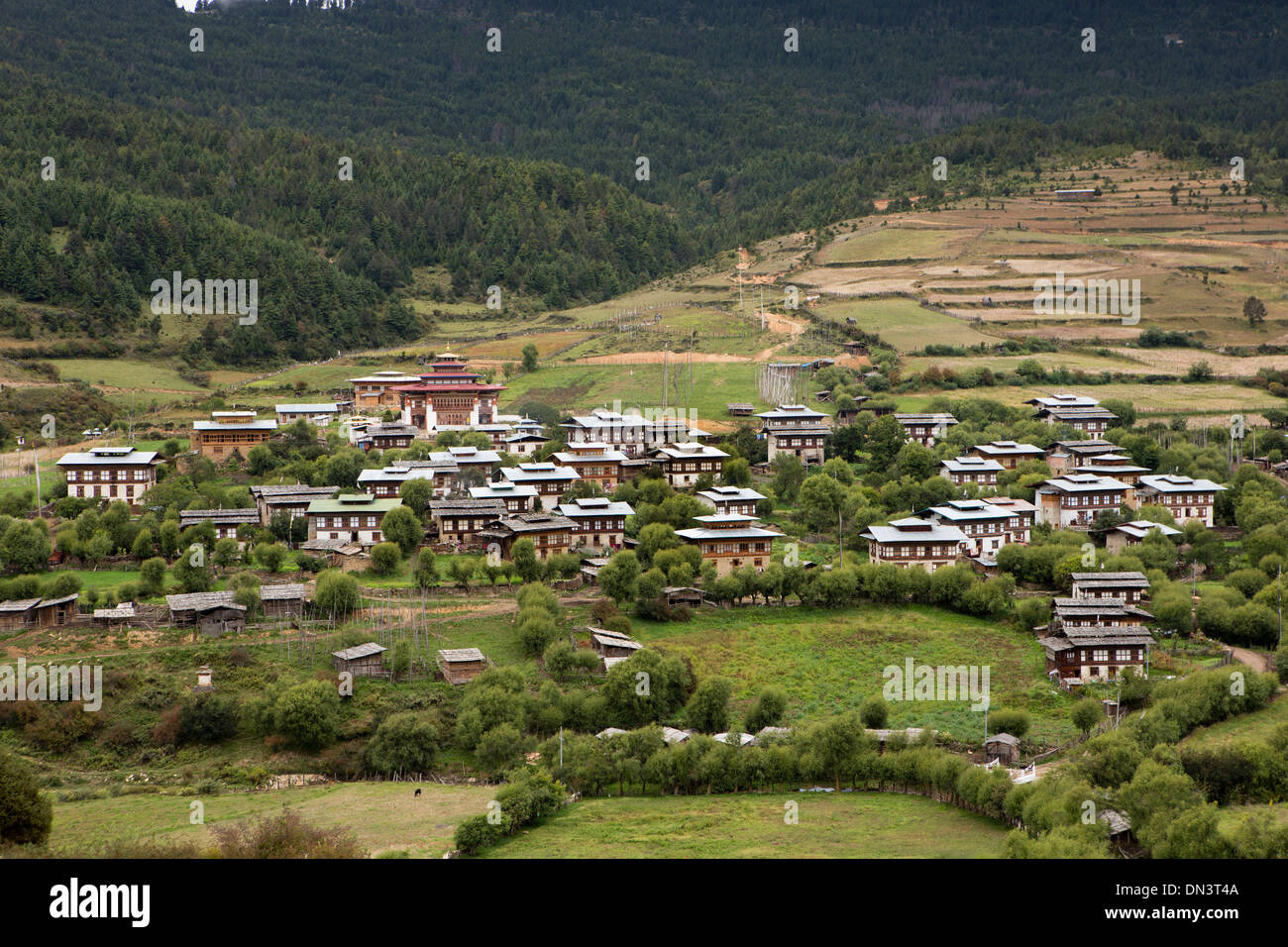 Eastern Bhutan Ura Village Houses Closely Grouped Around The Lhakang Temple