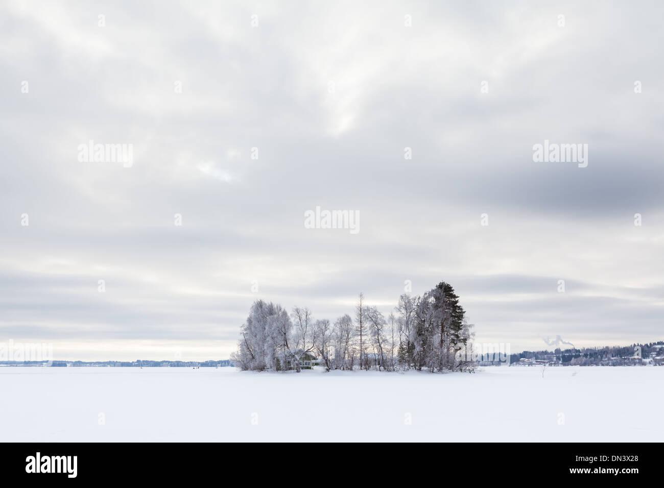 Winter lake in North Karelia, Finland - Stock Image