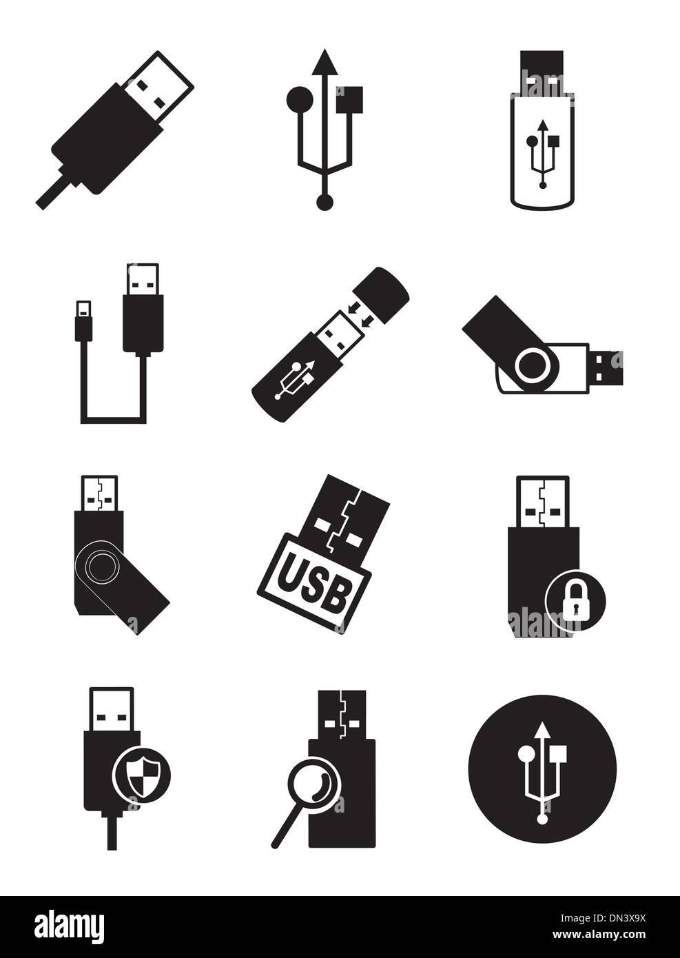 usb icons - Stock Image