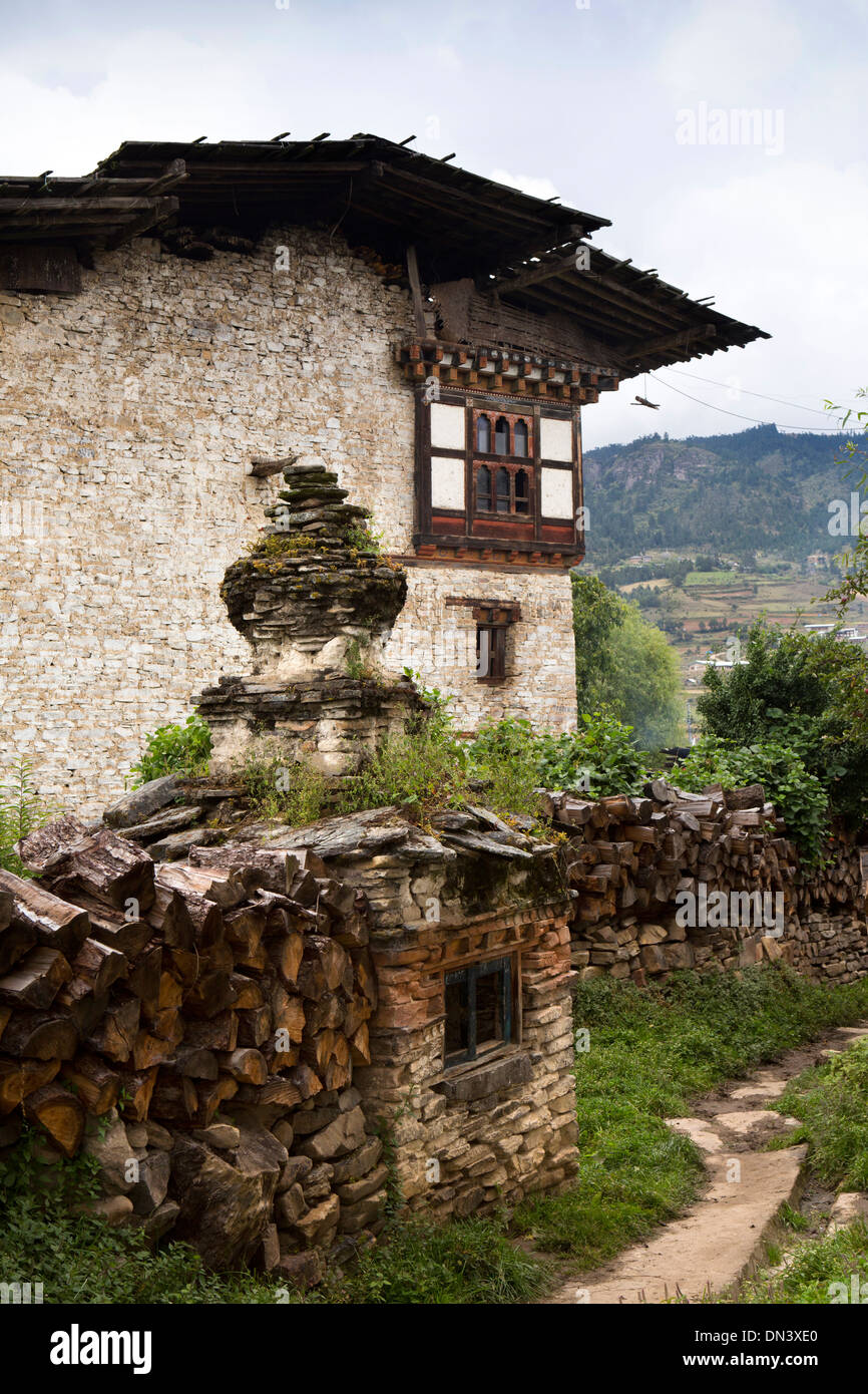 Eastern Bhutan Ura Village Stone Incense Burner On Path Between Houses