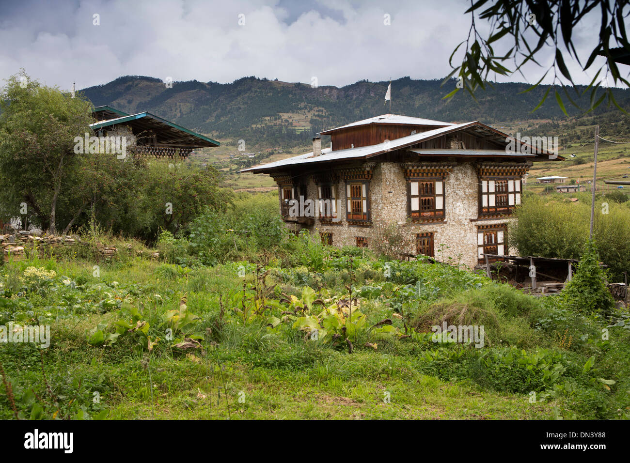Eastern Bhutan Ura Village Traditionally Constructed Stone And Wood Framed House
