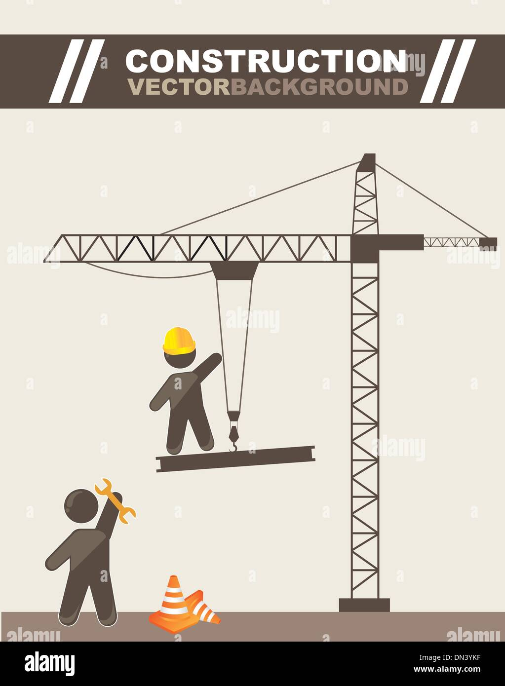 construction cartoon - Stock Image