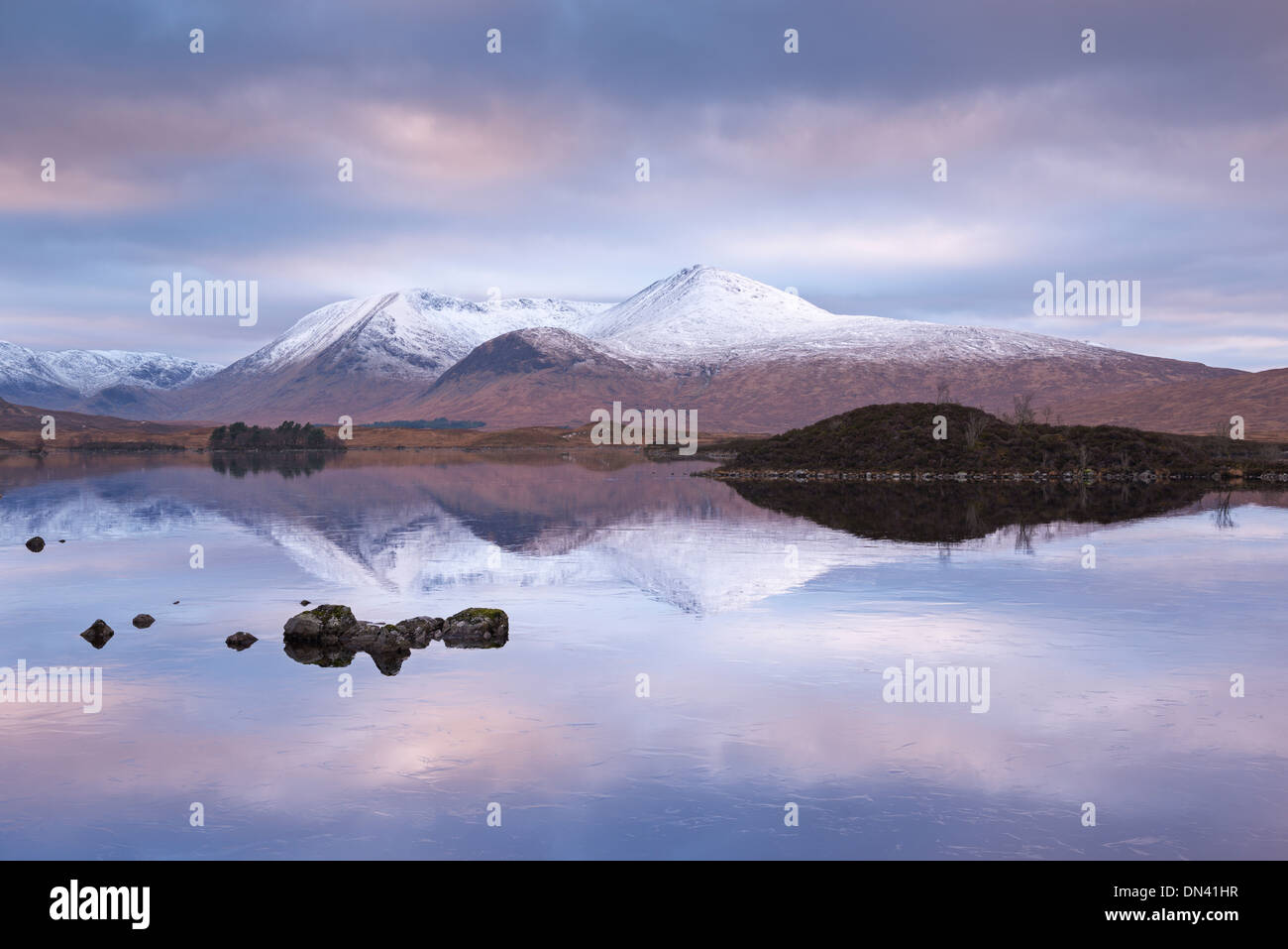 Snow Covered Black Mount reflected in a lochan, Rannoch Moor, Highland, Scotland. Winter (November) 2013. - Stock Image
