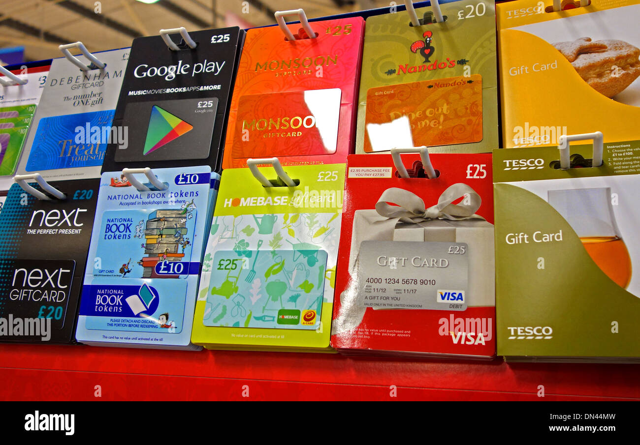 Gift Cards On Sale In A Uk Supermarket Stock Photo 64630409 Alamy