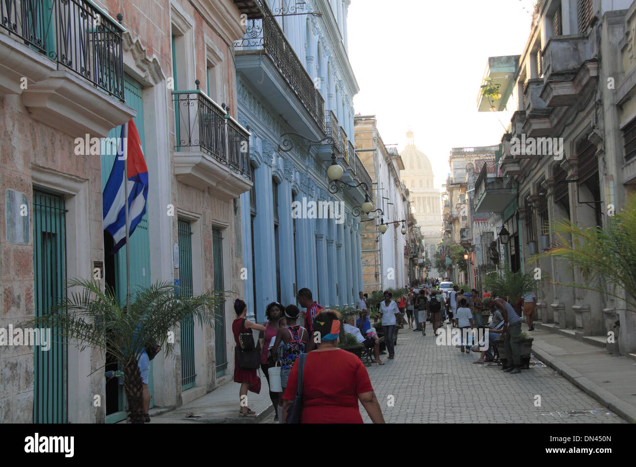 Calle Brasil (Teniente Rey), Old Havana (La Habana Vieja), Cuba, Caribbean Sea, Central America - Stock Image