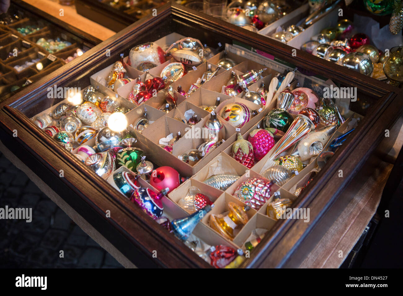 vintage christmas decorations for sale at christmas market cologne germany stock image