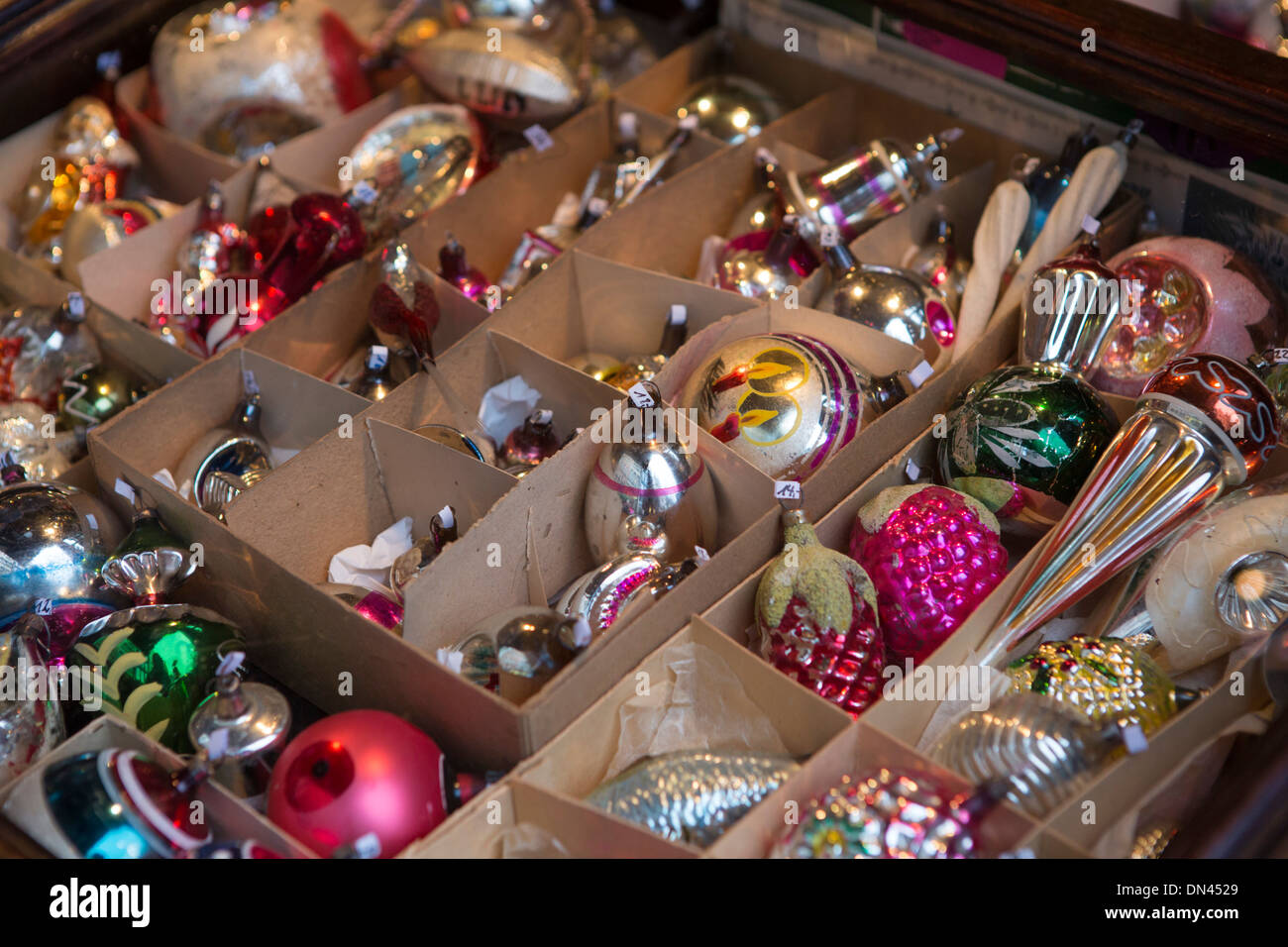 vintage christmas decorations for sale at christmas market cologne germany