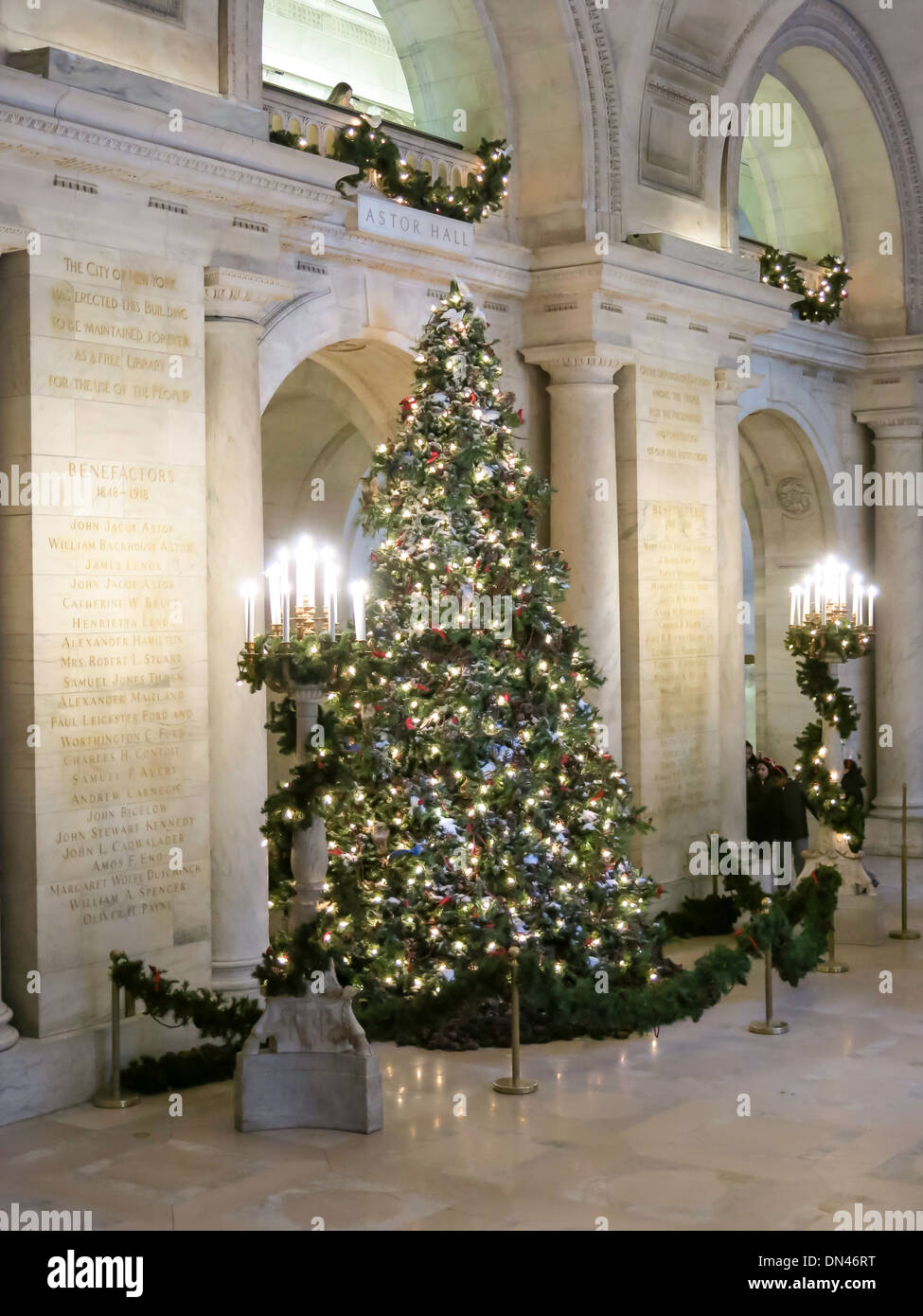 Christmas Tree Display, New York Public Library, NYC, USA Stock ...